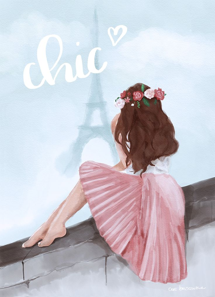 Tres chic! A watercolor illustration with a paris girl. Romantic art.  Watercolor girl in pink dress and floral wreath.