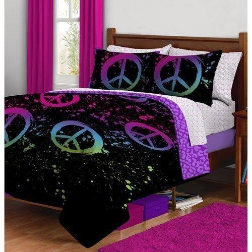 Girl Black Purple Pink Peace Sign Leopard Twin XL Dorm College Comforter Set (5pc Bed Bag)