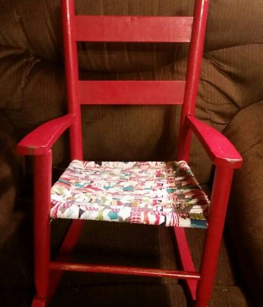 Pops 50 year old chair with rewoven seat for granddaughter