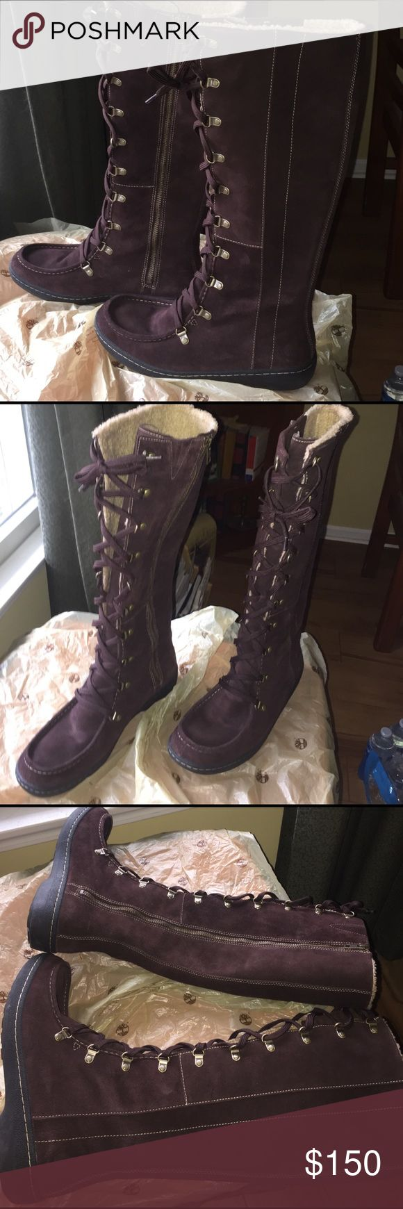 SALENWOT Timberland Femme Tall Suede Boots 9 Beautiful Timberland Suede Femme Tall Winnicut Boots. Dark brown, great quality, weather proofed. Tried on once. Orig box damaged, inside packaging still intact - size 9 Make me an offer - FREE NEW IVORY TALL BOOT SOCKS w/ Purchase (pic above) Timberland Shoes Lace Up Boots