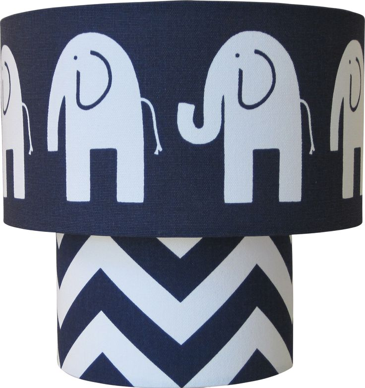 Lampshapes.com   Elephant Lamp Shade   Two Tier   White Elephant On Navy
