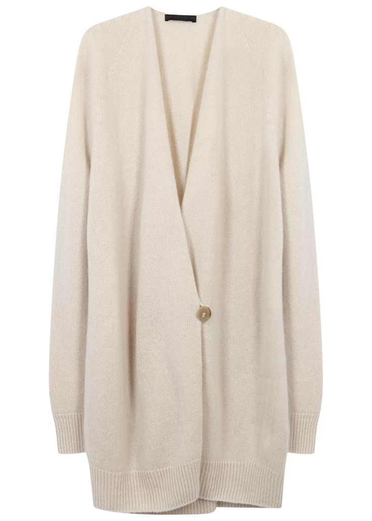 THE ROW cream cashmere and silk blend cardigan Ribbed trims Button fastening at front 74% cashmere, 26% silk
