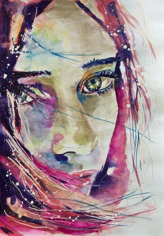 """Saatchi Art Artist: Sonja De Graaf; Watercolor 2012 Painting """"Lost in her own universe #2"""""""