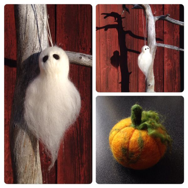 Pumpkin and ghost needle felted