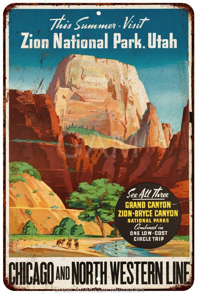 Zion National Park Northwestern Line Vintage Look Reproduction Metal Sign 8 x 12 8120146