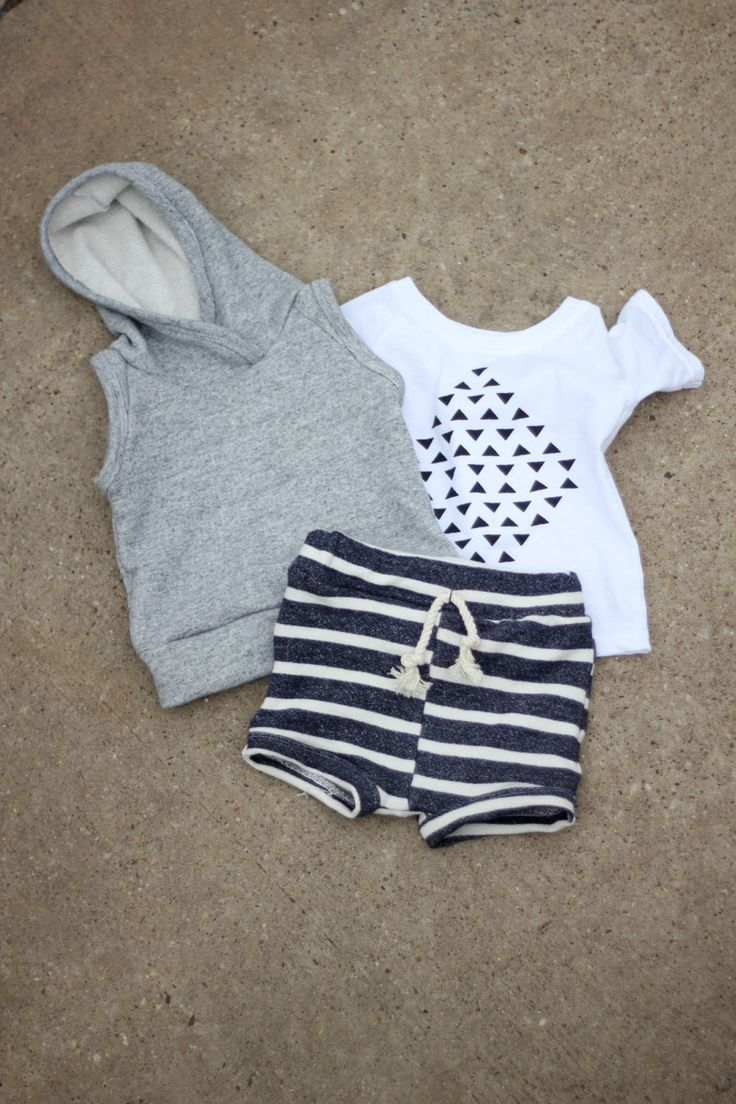 Nautically Inspired Summer look Stripe shorts with a subtle graphic tshirts and a sleeveless hoodie. Complete your beach day look with a funky headband for girls, or a stylish pair of aviators for boys.