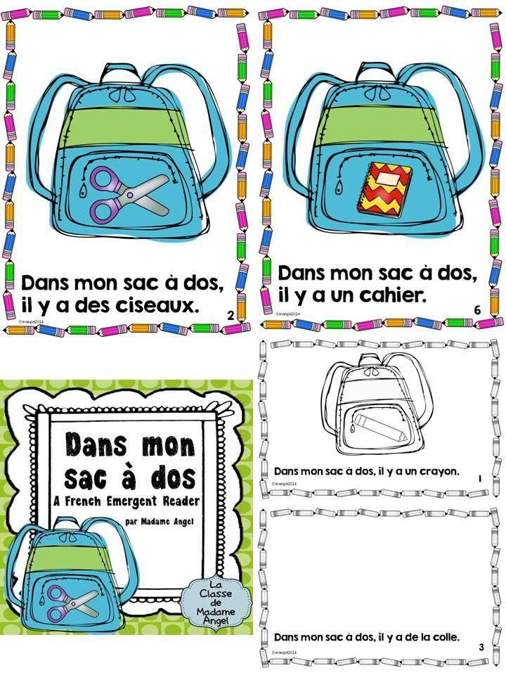 Voici un petit livre pour la Rentrée!  Dans mon sac à dos!  Fun French Emergent Reader for Back to School!  $