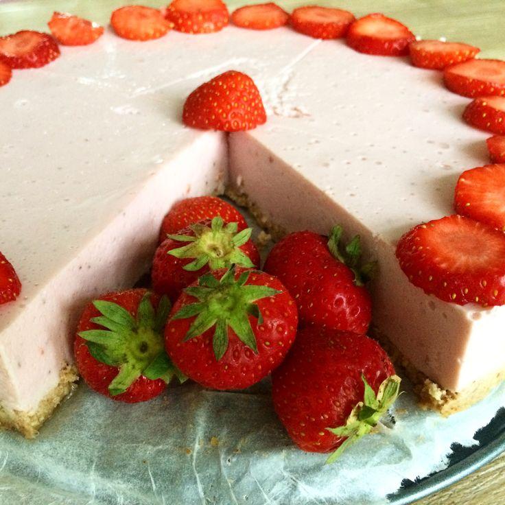 Aardbei kwarktaart - soja - healthy - gezonde taart