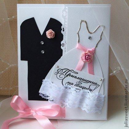 """Купить Приглашение """"Жених и Невеста"""" - розовые детали - приглашения на свадьбу, пригласительные, приглашение, приглашение на свадьбу"""