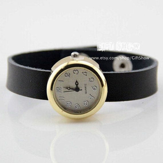 Man Women wrist watch Black leather rope Watchband by GiftShow, $11.99 Beautiful handmade watches, gifts.