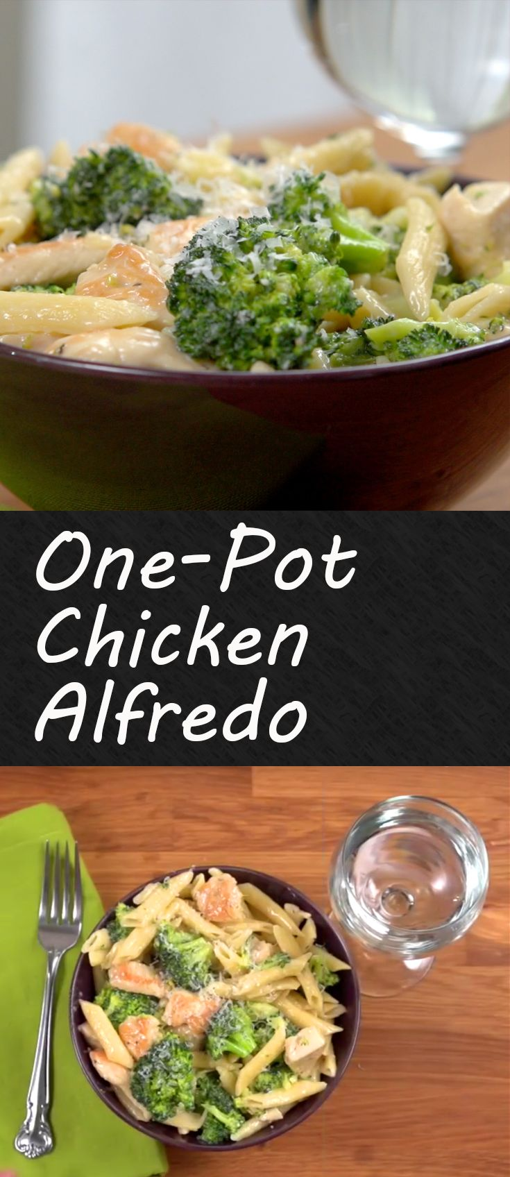 One Pot Chicken Alfredo | Another great one-pot meal that you can easily whip up during the weekday. A mix of chicken, broccoli, pasta and makes it perfect for family dinner night! Click for the full recipe and short how-to video. #familydinner #recipes #chickendinner #easymeals