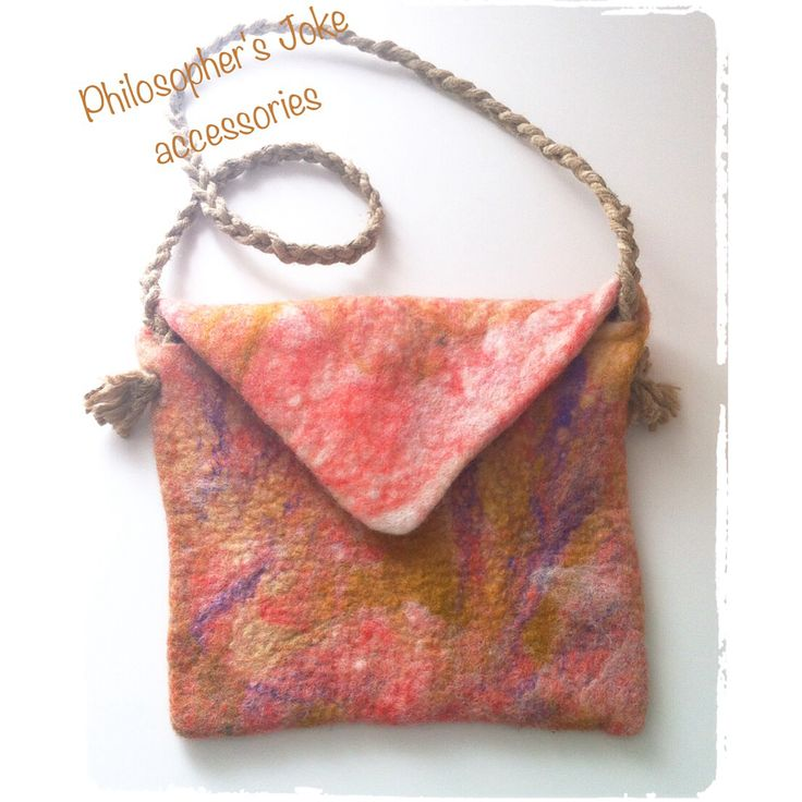 Nuno felted hand bag with knitted cannabis rope by Philosopher's Joke.