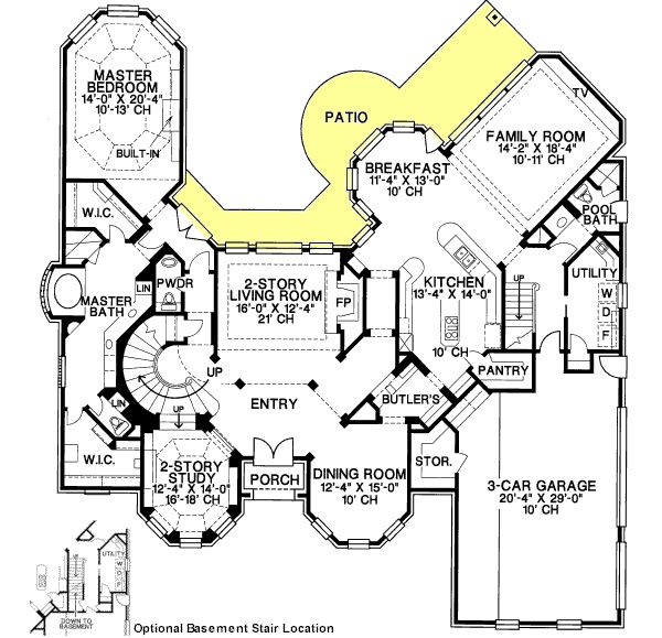 European style house plans 4500 square foot home 2 One story european house plans
