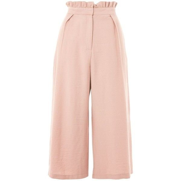 TopShop Tall Paperbag Waist Crop Wide Leg Trousers ($68) ❤ liked on Polyvore featuring pants, dusty pink, paperbag pants, rayon pants, pink trousers, tall wide leg pants and tall pants