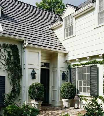 Better Homes & Gardens: White Houses, Dreams Houses, Black White, Black Shutters, Front Doors, Curb Appeal, Planters, Design Home, Front Porches