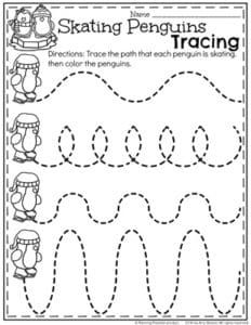 Winter Preschool Worksheets - Skating Penguins line tracing.