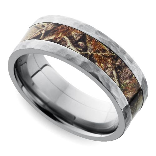 hammered flat camouflage inlay mens wedding ring in titanium - Titanium Mens Wedding Rings