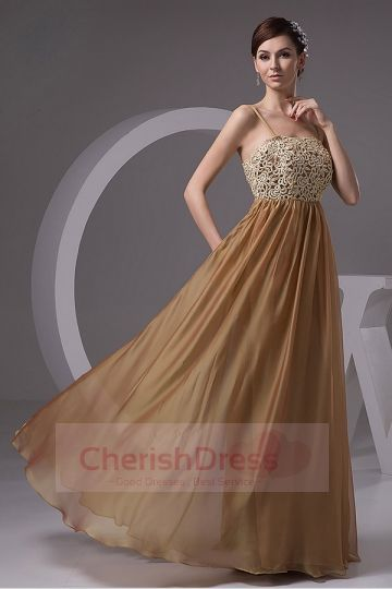 A-line Spaghetti Straps Floor-length Chiffon Dress with Appliques