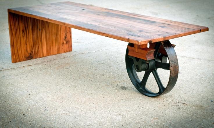 wheeled waterfall coffee table