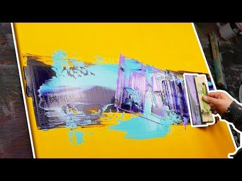 Abstract painting with a squeegee and a knife for drawing – Lake of Fire – YouTube