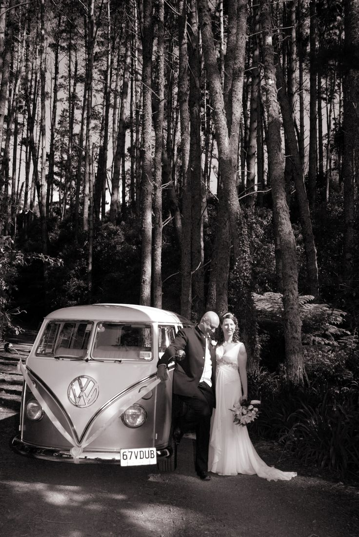 Wedding Bride and Groom with their vintage 67VW Microbus. Photo by Upfold Photography, Auckland.