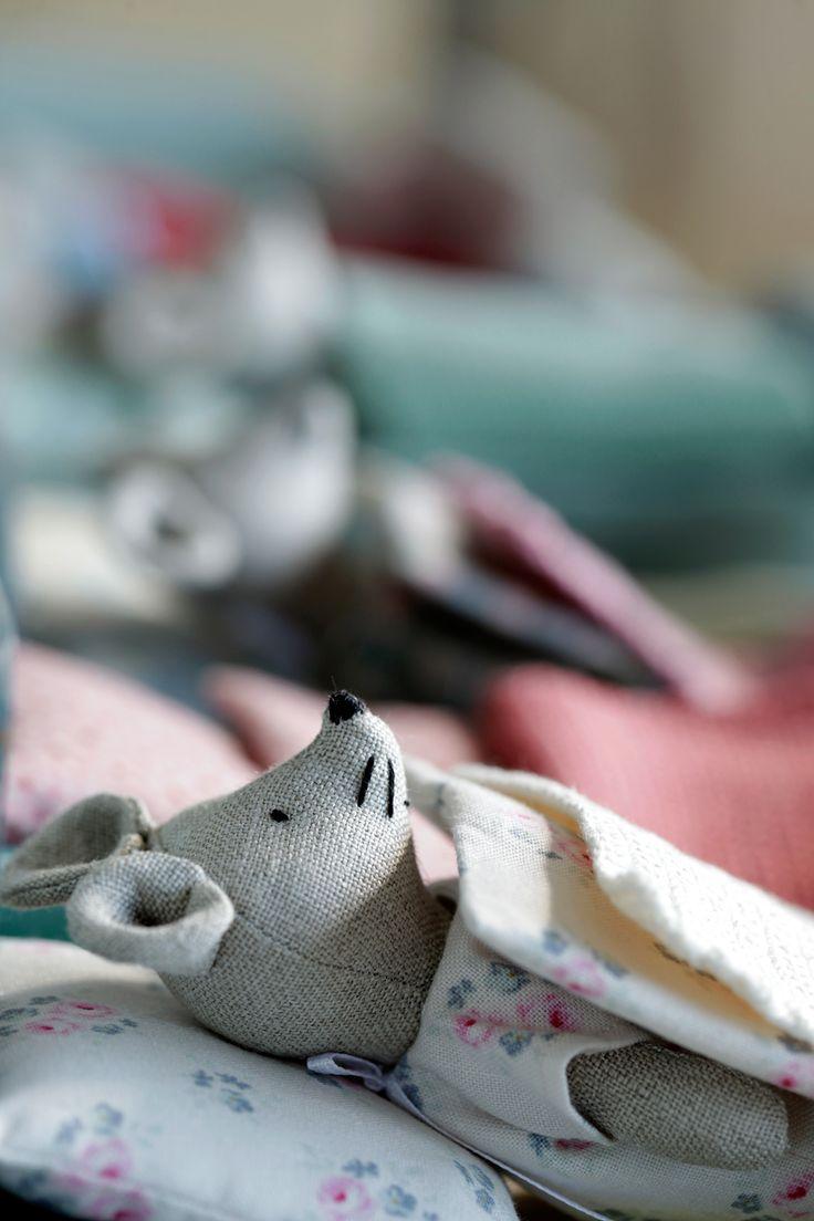 beautiful linen mouses.https://www.etsy.com/shop/KrasnoludyZnadWisly  #DollBed  #handmadetoys