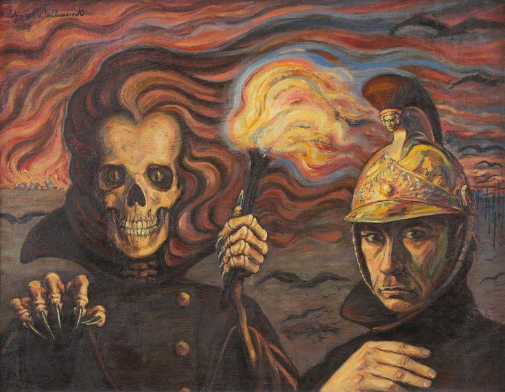 """Personifikacja śmierci - ekspresyjna i drapieżna, z grubo kładzioną farbą. Obok niej sam twórca obrazu w hełmie paradnym straży ogniowej. W tle pożoga. Nad spustoszoną i spopielałą ziemią zawisło czarne ptactwo; widać też krzyże, a na horyzoncie płonące gospodarstwo. Oto """"Wojna"""" (1924 r.) pędzla Wojciecha Podlaszewskiego."""