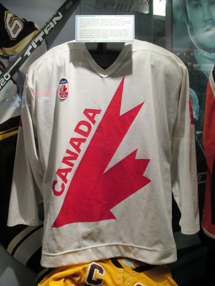 """1987 Team Canada Hockey Jersey at the Hockey Hall of Fame, Toronto - From the curators' comments: """"Team Canada jersey Mario Lemieux wore during the 1987 Canada Cup tournament. Lemieux scored the tournament-winning goal for Canada in game three of the final versus the Soviet Union and finished second in scoring behind Wayne Gretzky with 18 points."""""""