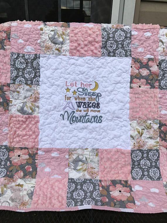 Pink Gray Blush Patchwork blanket Sloth minky blanket Baby