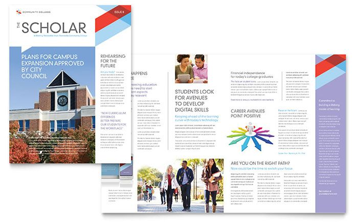 Community College Newsletter Design Template by StockLayouts