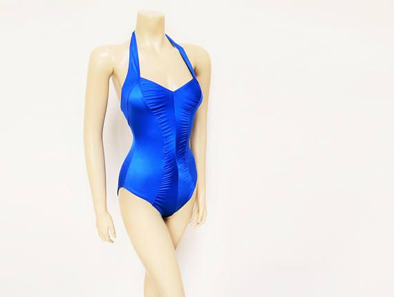 Vintage Swimming Costume, UK10, Electric Blue, Ladies Costume, Retro Swimwear, Ladies Swimwear, Swimmer, Blue Swimming Costume, Halter Neck