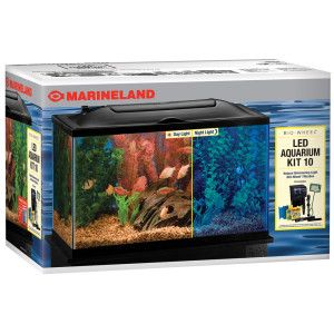 Marineland 10 gallon biowheel led aquarium kit fish for Petsmart fish guarantee