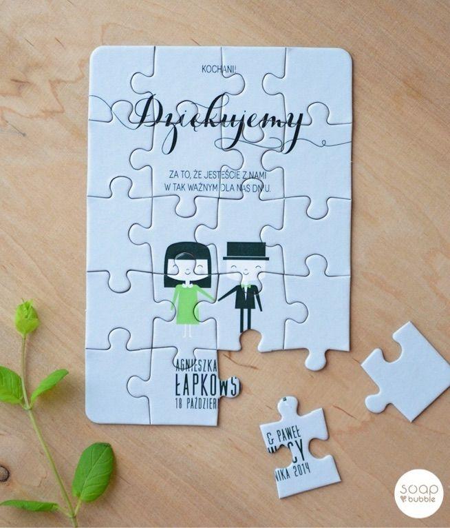 Zobacz zdjęcie podziękowania dla gości w formie puzzli, super sprawa! :) w pełnej rozdzielczości