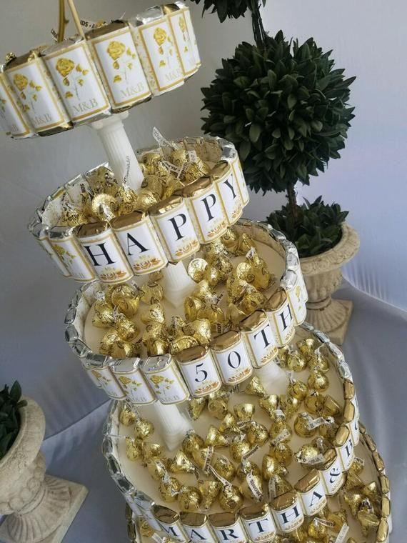 Anniversary Centerpiece Candy Cake 50th Golden Wedding Etsy Anniversary Centerpieces Wedding Anniversary Centerpieces 50 Golden Wedding Anniversary