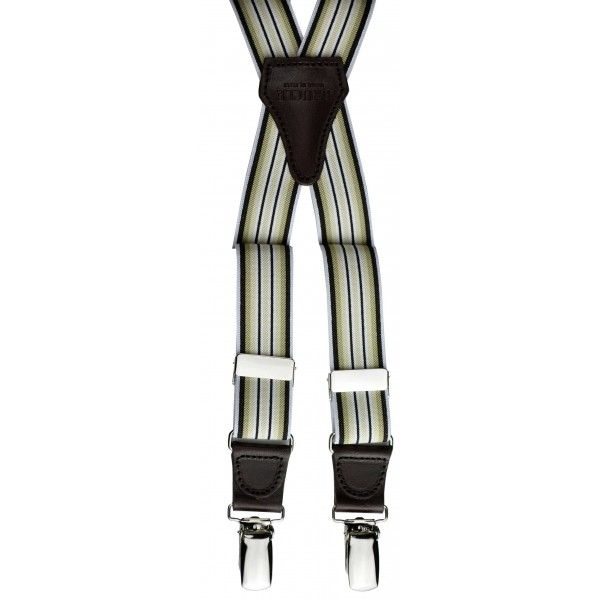Bretelle a X con motivo a righe verticali gialle e marroni. Elastico italiano e finiture in vera pelle per un accessorio moda di qualità sup...