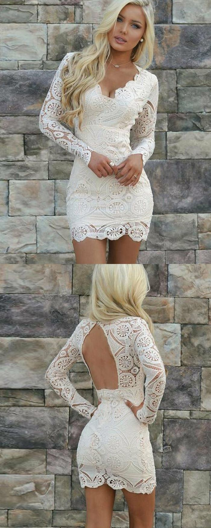703e47f89 white tight lace homecoming dress, elegant short prom dress with long  sleeves