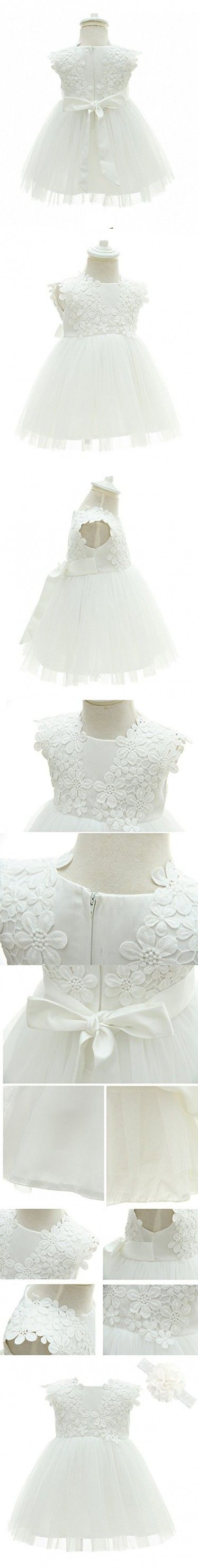 Greatop Baby Girls Dress Christening Baptism Party Formal Dress(White(Style 2),3M/0-6Month)