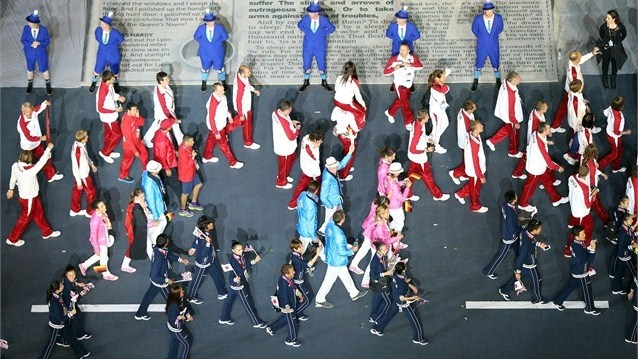 The teams from Japan and Latvia enter the stadium during the Closing Ceremony on Day 16 of the London 2012 Olympic Games at Olympic Stadium.