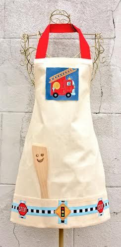 BOYS APRON Kids Designer Apron Cotton Canvas Fabric Colorful Handmade Birthday Party Gift Wooden Spoon Cooking Baking Kitchen Dining