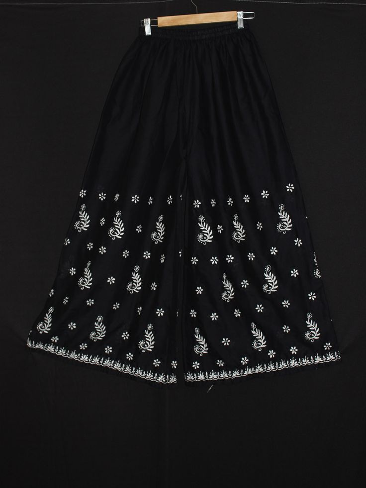 Black Palazzo pants  Cotton #palazzo #pants #handembroidered with #chikankari from #lucknow