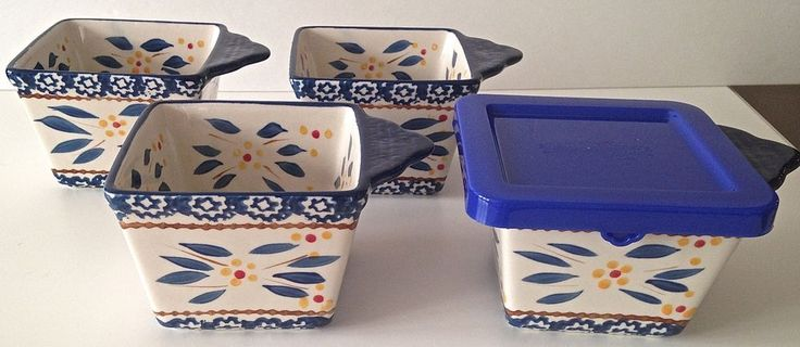 Temp Tations Set Of 4 10 Oz Ramekins Mini Bakers Covers