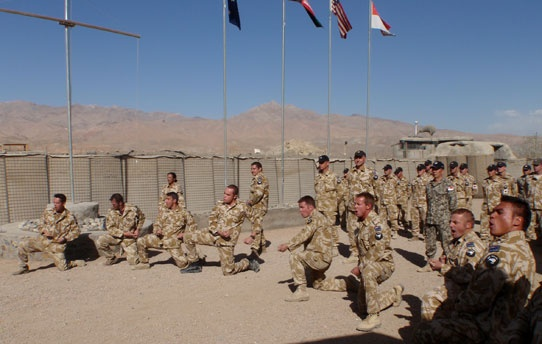 Kiwi soldiers in Afghanistan perform a Haka to welcome NZ Defence Minister Hon Wayne Mapp