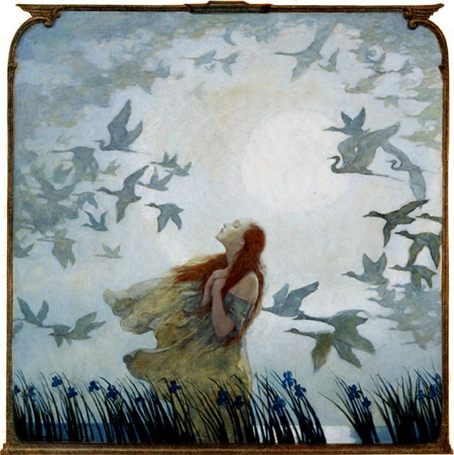 """N. C. Wyeth. Migrating birds. This feels so much like those nights you revel being just a tad cold — finally shedding winter, and hoping to put off summer just a little while longer."""