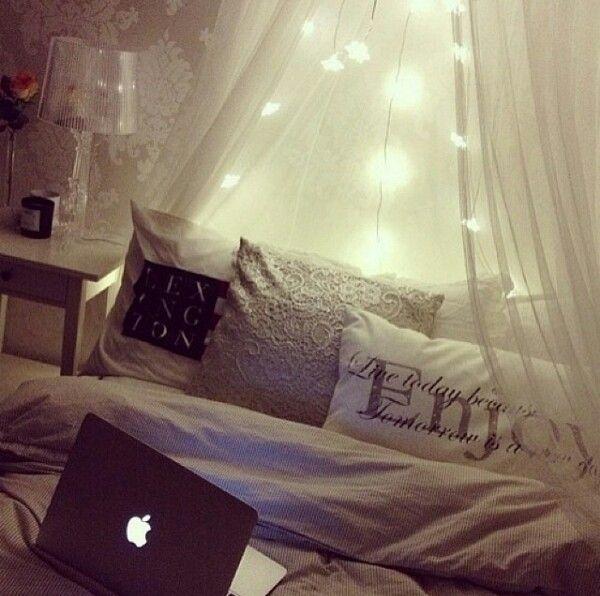 Flower string lights and big fluffy comforter