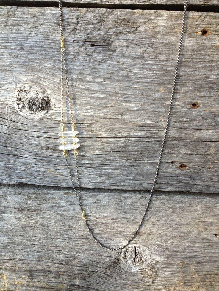 #crystalquartz trio #necklace on #nickelfree chain