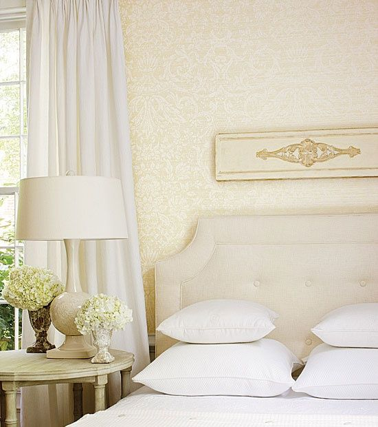 Cream White Bedroom Wallpaper By Thibaut