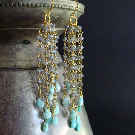 Peruvian Opal & Labradorite Long Earrings  by karensugarmandesigns, $310.00