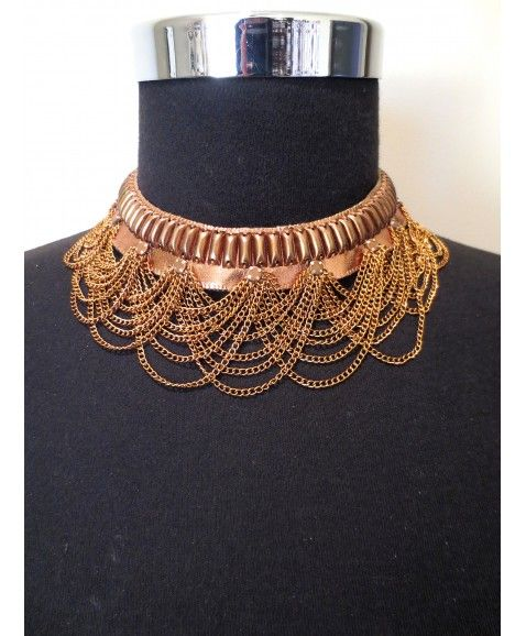 LAVISH MALLORY NECKLACE    Choker style necklace for a rose-gold rustic statement Materials include leather, plated brass  Designed in WA and only 5 created      Due to the delicate chain detailing please take care when storing this necklace so chain does not catch on other items  http://www.scarletrunway.com.au/accessories-c5/lavish-mallory-necklace-p46/