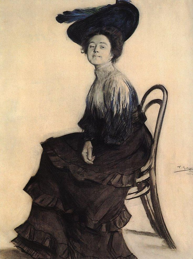 Boris Kustodiev (Russian, 1878-1927) - Portrait of E.A. Polevitskaya, 1905