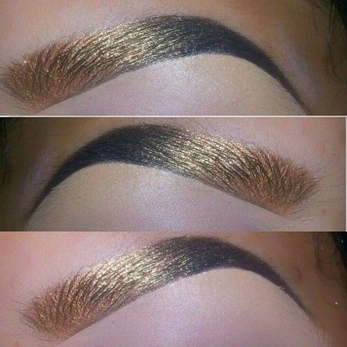 """""""Awwweshumm inspired gold to black #brows by @tialacakeface, found browsing #queenofblending tag! Her eye #makeup game is seriously sick, too. Check it!! Soooo good!"""""""